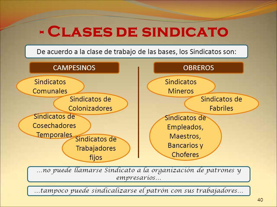 De acuerdo a la clase de trabajo de las bases, los Sindicatos son: - Clases de sindicato …no puede llamarse Sindicato a la organización de patrones y