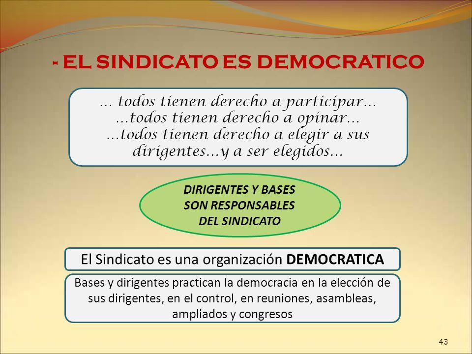 El Sindicato es una organización DEMOCRATICA … todos tienen derecho a participar… …todos tienen derecho a opinar… …todos tienen derecho a elegir a sus