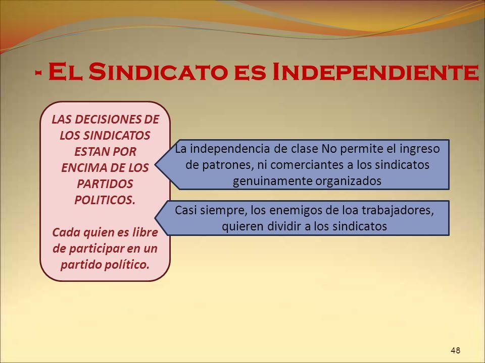 - El Sindicato es Independiente LAS DECISIONES DE LOS SINDICATOS ESTAN POR ENCIMA DE LOS PARTIDOS POLITICOS. Cada quien es libre de participar en un p