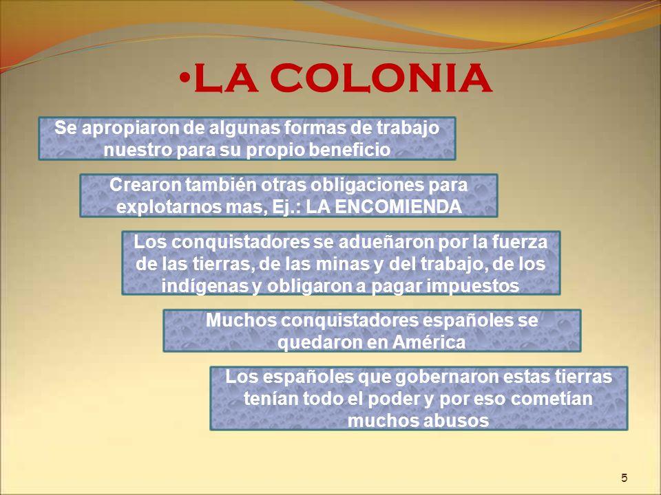 LA COLONIA Se apropiaron de algunas formas de trabajo nuestro para su propio beneficio Crearon también otras obligaciones para explotarnos mas, Ej.: L