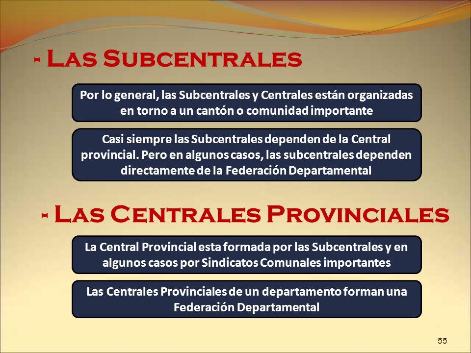 - Las Subcentrales Por lo general, las Subcentrales y Centrales están organizadas en torno a un cantón o comunidad importante - Las Centrales Provinci