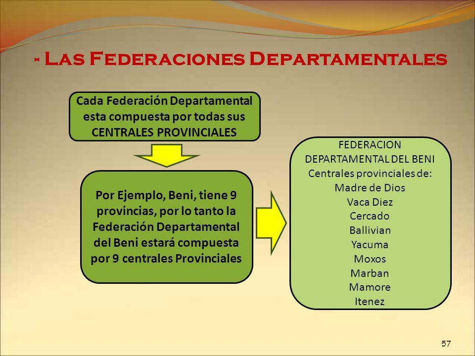 - Las Federaciones Departamentales Cada Federación Departamental esta compuesta por todas sus CENTRALES PROVINCIALES Por Ejemplo, Beni, tiene 9 provin