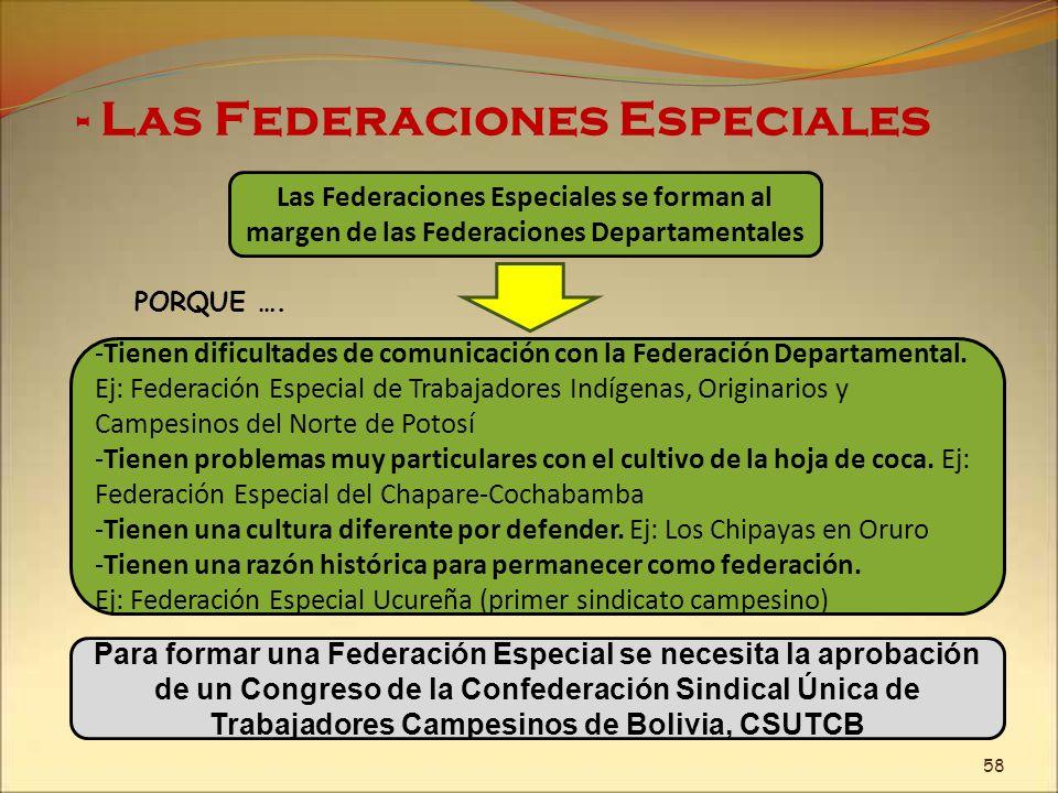- Las Federaciones Especiales Las Federaciones Especiales se forman al margen de las Federaciones Departamentales -Tienen dificultades de comunicación