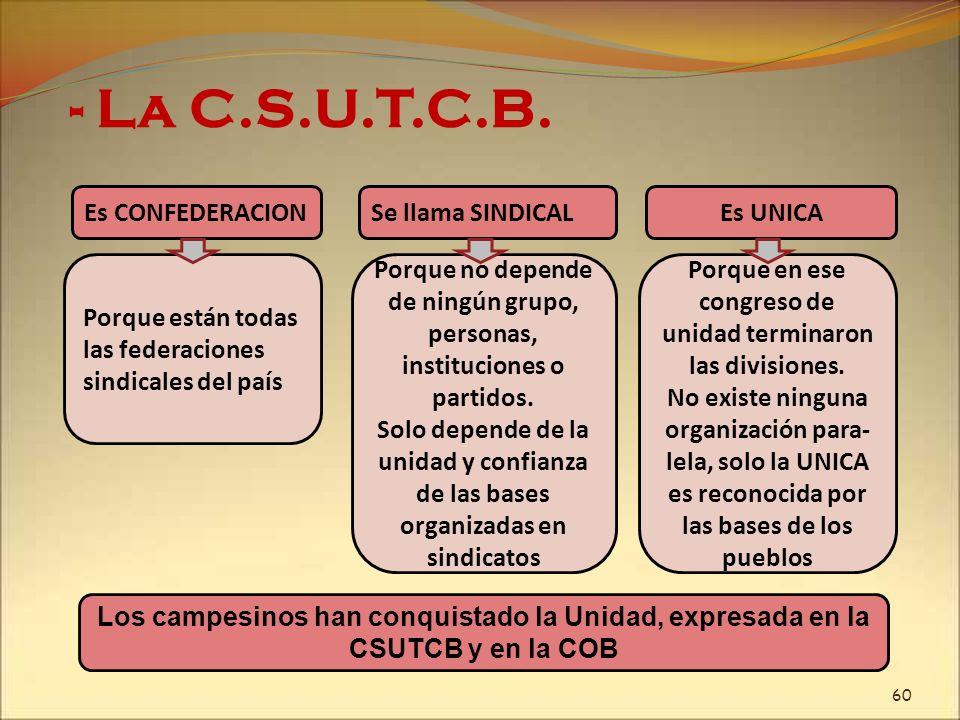 - La C.S.U.T.C.B. Porque están todas las federaciones sindicales del país Es CONFEDERACION Porque no depende de ningún grupo, personas, instituciones
