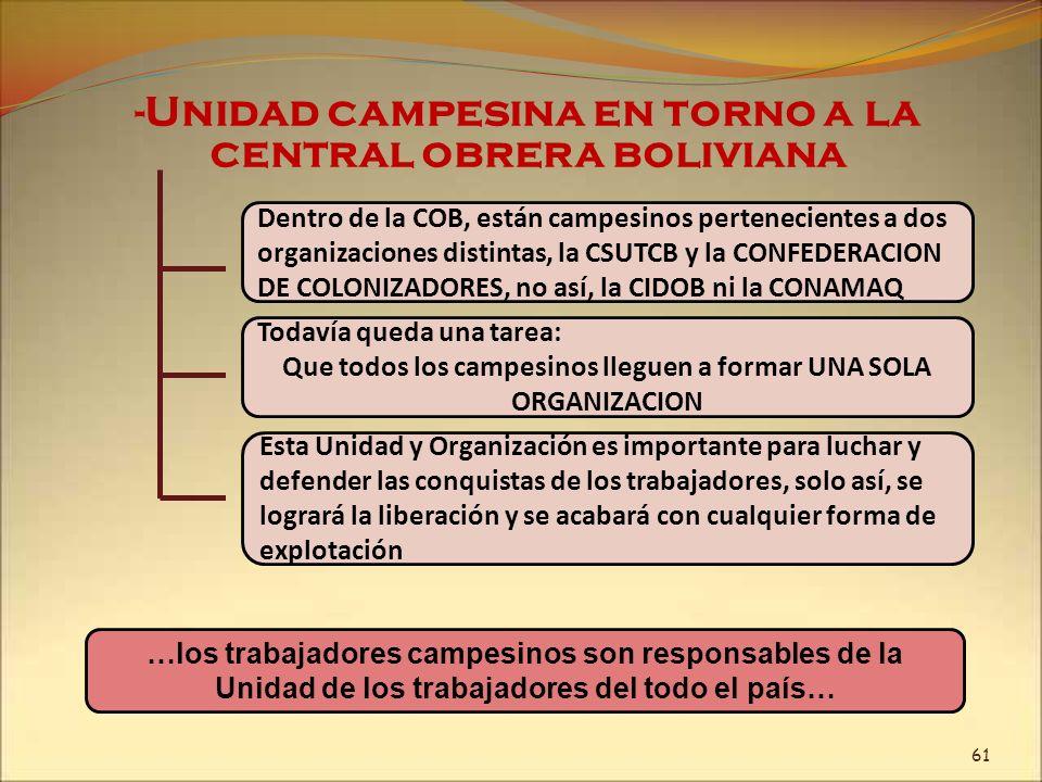 -Unidad campesina en torno a la central obrera boliviana Dentro de la COB, están campesinos pertenecientes a dos organizaciones distintas, la CSUTCB y