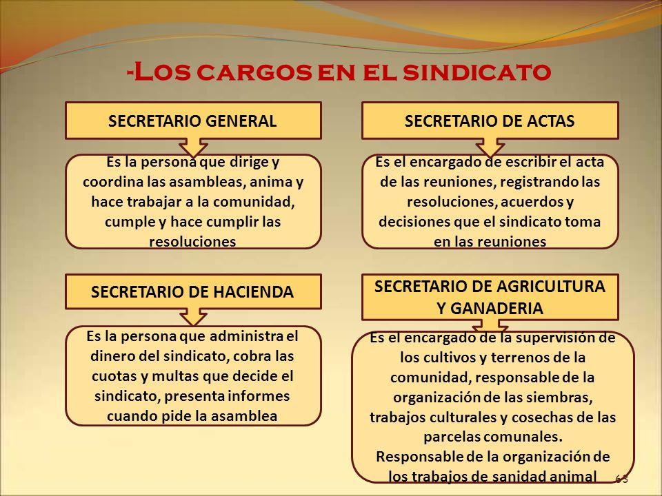 -Los cargos en el sindicato Es la persona que dirige y coordina las asambleas, anima y hace trabajar a la comunidad, cumple y hace cumplir las resoluc
