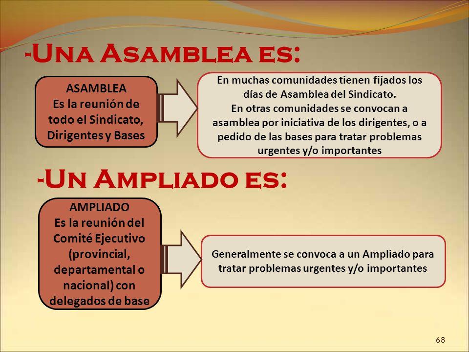 -Una Asamblea es: ASAMBLEA Es la reunión de todo el Sindicato, Dirigentes y Bases En muchas comunidades tienen fijados los días de Asamblea del Sindic