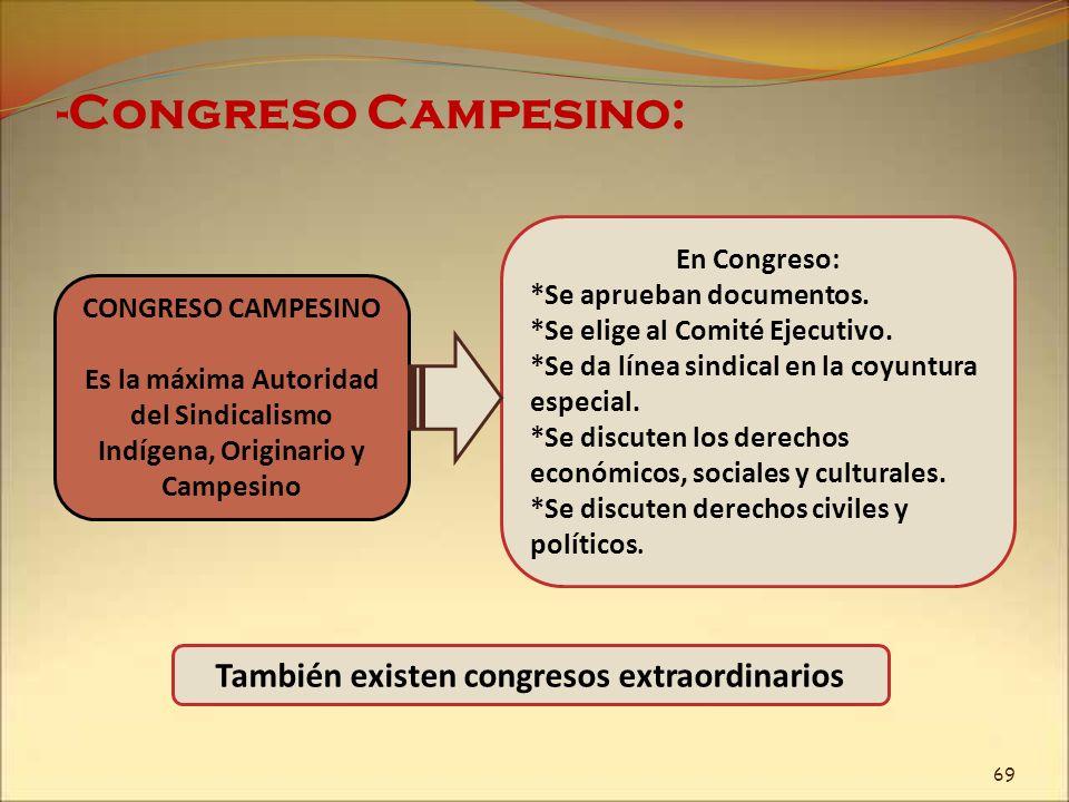 -Congreso Campesino: CONGRESO CAMPESINO Es la máxima Autoridad del Sindicalismo Indígena, Originario y Campesino En Congreso: *Se aprueban documentos.