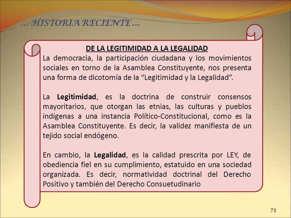 73 … HISTORIA RECIENTE... DE LA LEGITIMIDAD A LA LEGALIDAD La democracia, la participación ciudadana y los movimientos sociales en torno de la Asamble