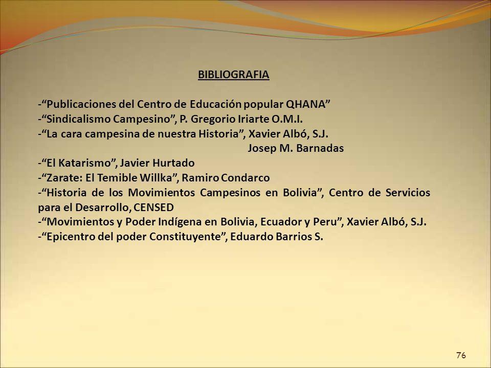 76 BIBLIOGRAFIA -Publicaciones del Centro de Educación popular QHANA -Sindicalismo Campesino, P. Gregorio Iriarte O.M.I. -La cara campesina de nuestra