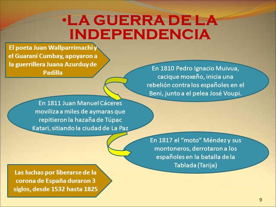 En 1810 Pedro Ignacio Muivua, cacique moxeño, inicia una rebelión contra los españoles en el Beni, junto a el pelea José Voupi. LA GUERRA DE LA INDEPE