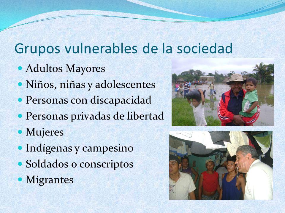 Grupos vulnerables de la sociedad Adultos Mayores Niños, niñas y adolescentes Personas con discapacidad Personas privadas de libertad Mujeres Indígena