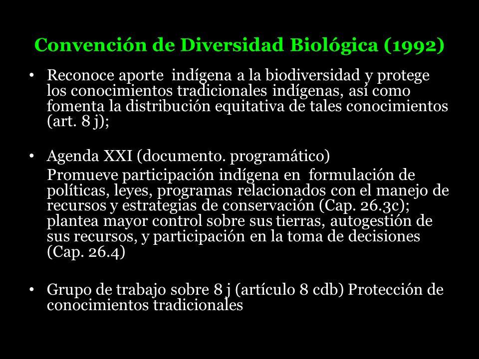 Convención de Diversidad Biológica (1992) Reconoce aporte indígena a la biodiversidad y protege los conocimientos tradicionales indígenas, así como fo