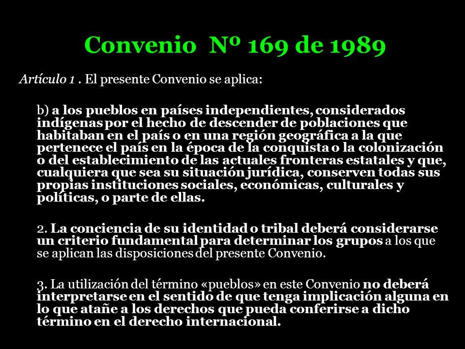 Convenio Nº 169 de 1989 Artículo 1. El presente Convenio se aplica: b) a los pueblos en países independientes, considerados indígenas por el hecho de