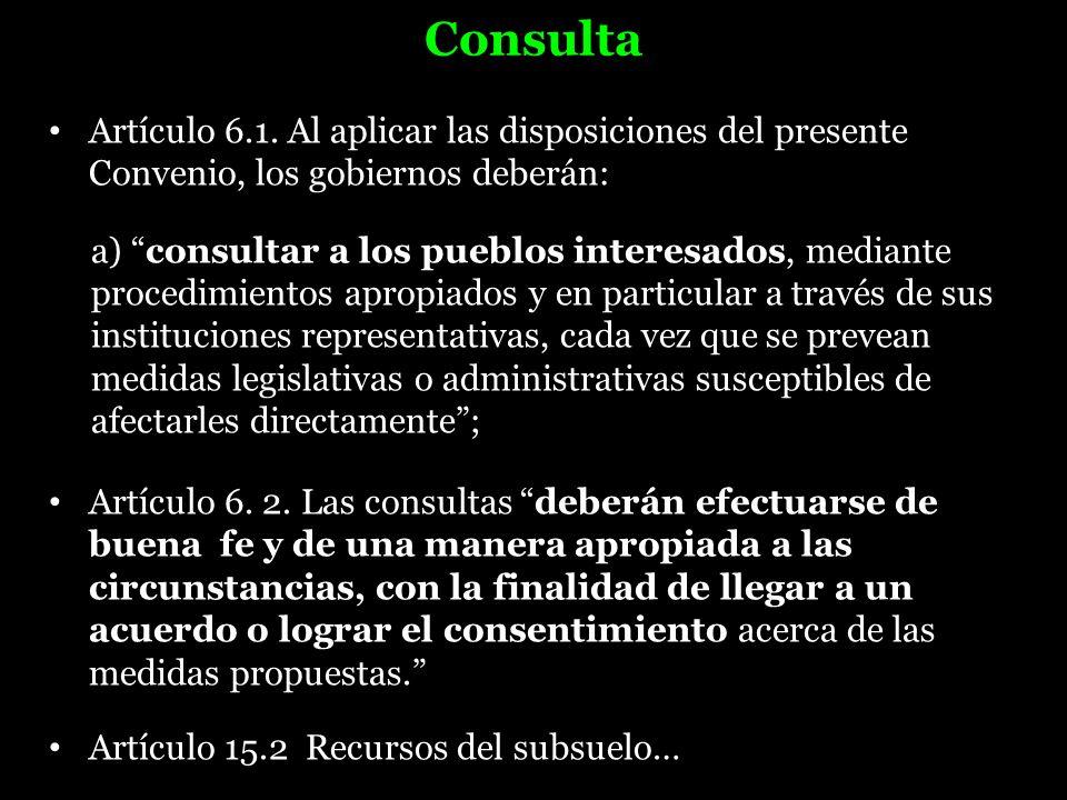 Consulta Artículo 6.1. Al aplicar las disposiciones del presente Convenio, los gobiernos deberán: a) consultar a los pueblos interesados, mediante pro