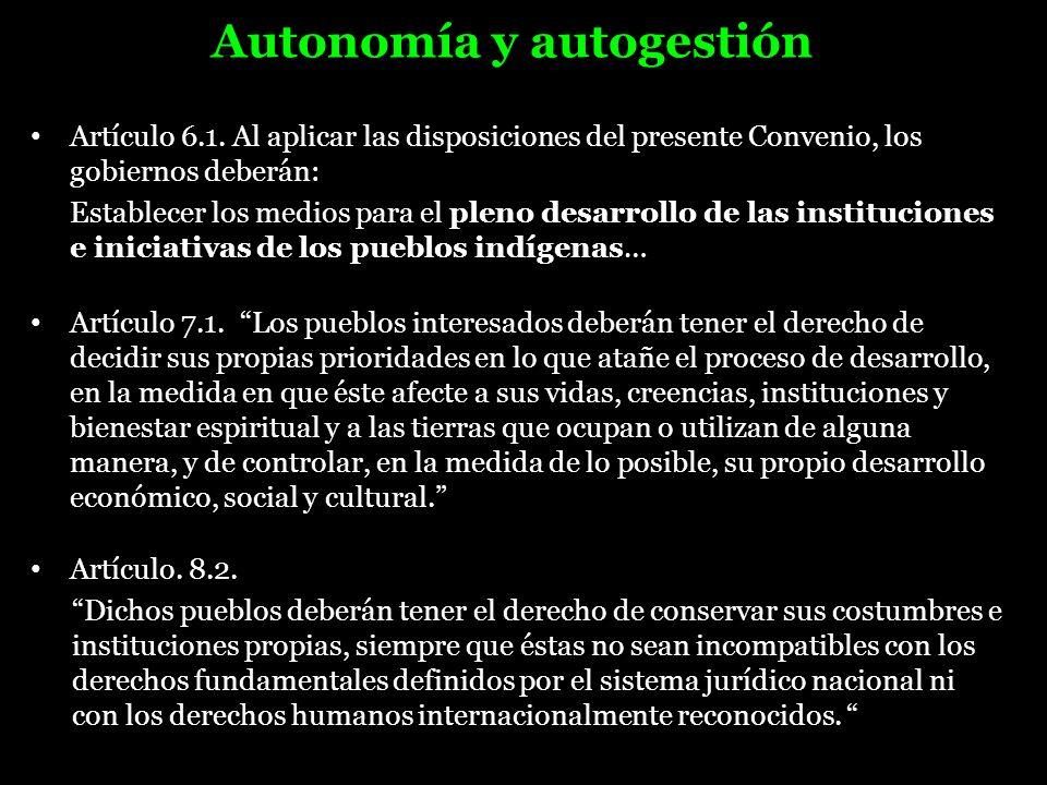 Autonomía y autogestión Artículo 6.1. Al aplicar las disposiciones del presente Convenio, los gobiernos deberán: Establecer los medios para el pleno d