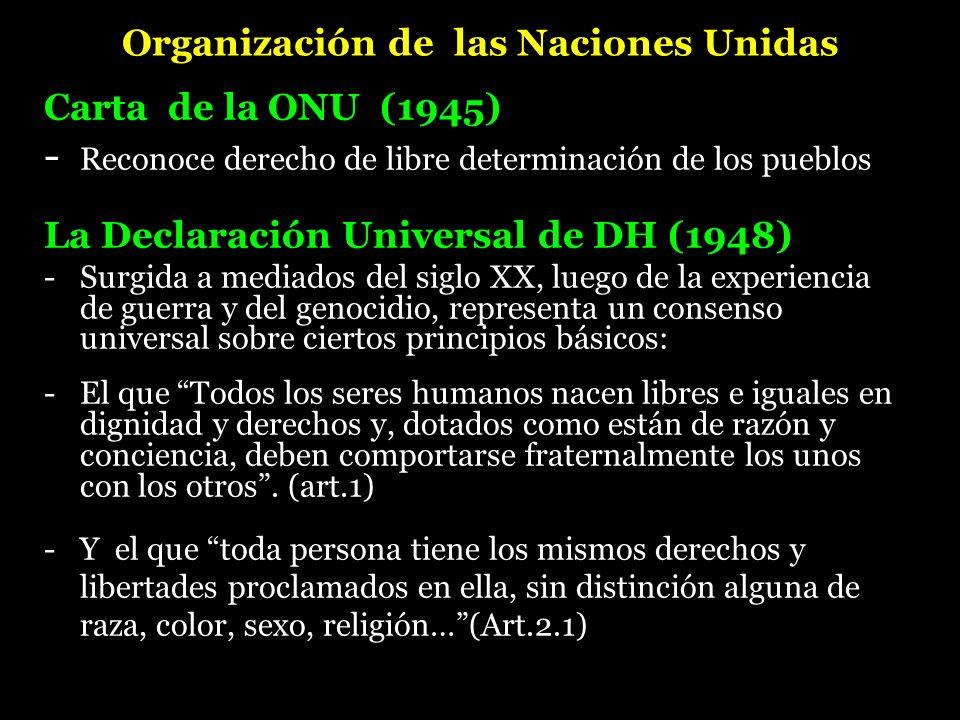 Organización de las Naciones Unidas Carta de la ONU (1945) - Reconoce derecho de libre determinación de los pueblos La Declaración Universal de DH (19