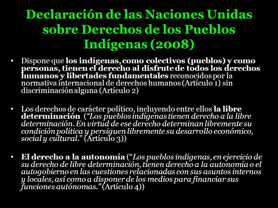 Declaración de las Naciones Unidas sobre Derechos de los Pueblos Indígenas (2008) Dispone que los indígenas, como colectivos (pueblos) y como personas