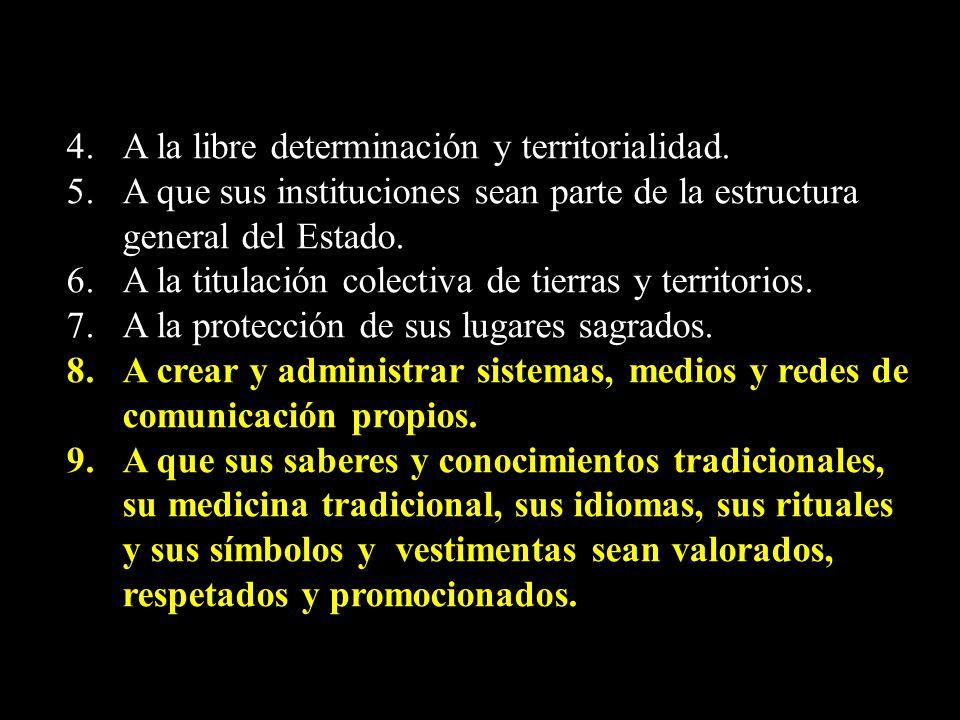 4. A la libre determinación y territorialidad. 5. A que sus instituciones sean parte de la estructura general del Estado. 6. A la titulación colectiva