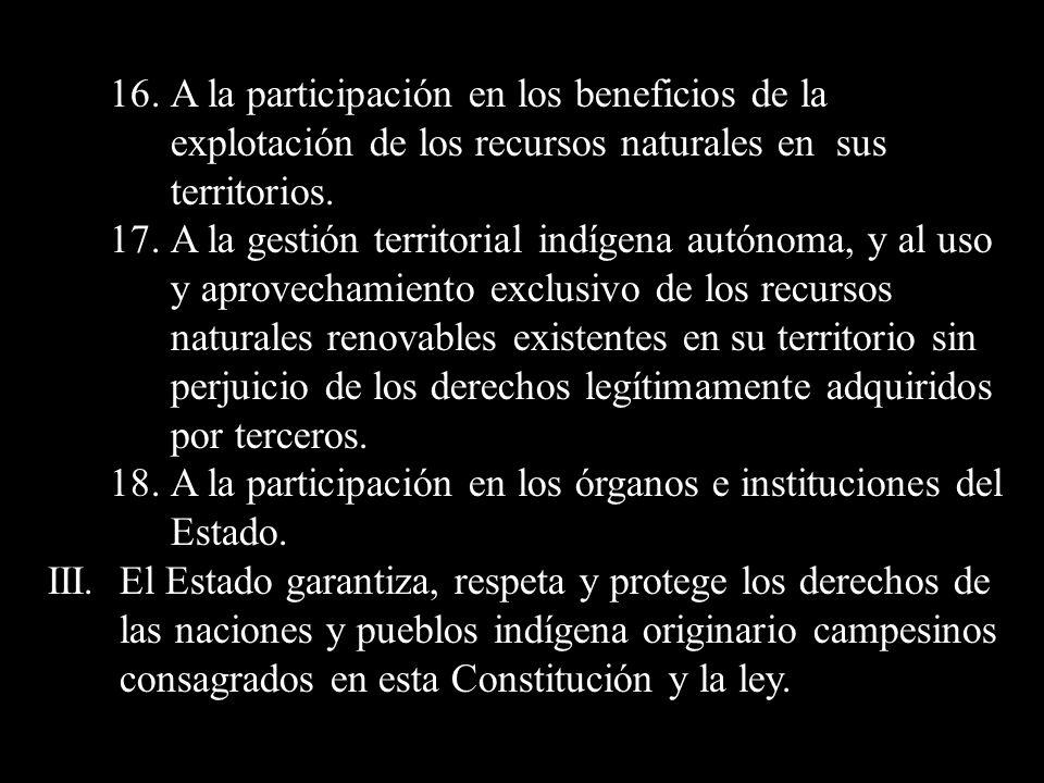 16. A la participación en los beneficios de la explotación de los recursos naturales en sus territorios. 17. A la gestión territorial indígena autónom