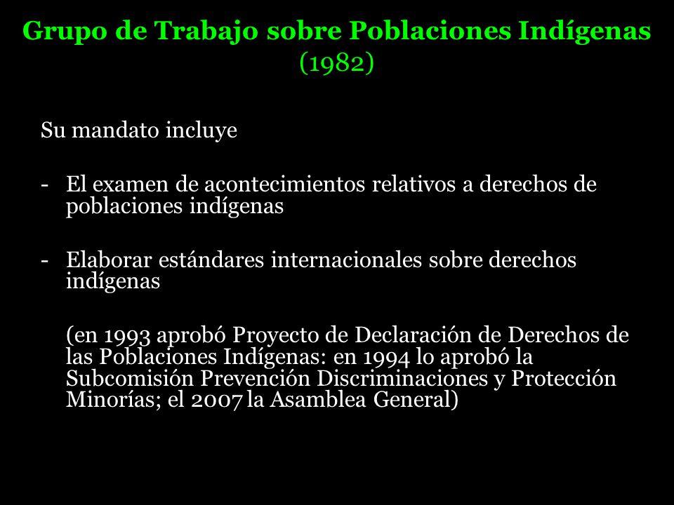 Grupo de Trabajo sobre Poblaciones Indígenas (1982) Su mandato incluye - El examen de acontecimientos relativos a derechos de poblaciones indígenas -