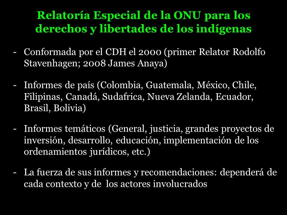 Relatoría Especial de la ONU para los derechos y libertades de los indígenas -Conformada por el CDH el 2000 (primer Relator Rodolfo Stavenhagen; 2008