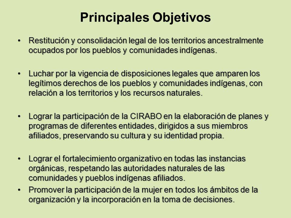 Principales Objetivos Restitución y consolidación legal de los territorios ancestralmente ocupados por los pueblos y comunidades indígenas.Restitución
