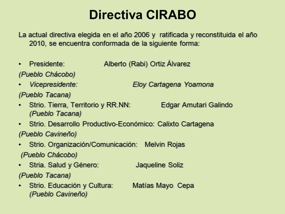 Directiva CIRABO La actual directiva elegida en el año 2006 y ratificada y reconstituida el año 2010, se encuentra conformada de la siguiente forma: P