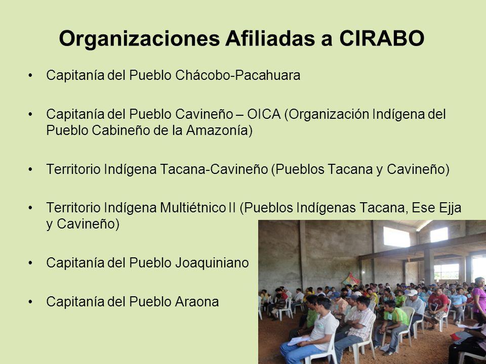 Organizaciones Afiliadas a CIRABO Capitanía del Pueblo Chácobo-Pacahuara Capitanía del Pueblo Cavineño – OICA (Organización Indígena del Pueblo Cabine