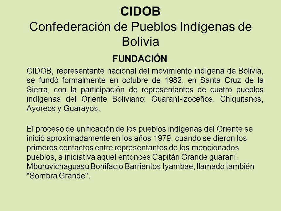 CIDOB Confederación de Pueblos Indígenas de Bolivia FUNDACIÓN CIDOB, representante nacional del movimiento indígena de Bolivia, se fundó formalmente e