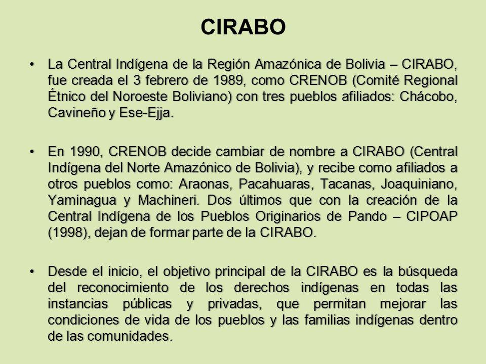 CIRABO La Central Indígena de la Región Amazónica de Bolivia – CIRABO, fue creada el 3 febrero de 1989, como CRENOB (Comité Regional Étnico del Noroes