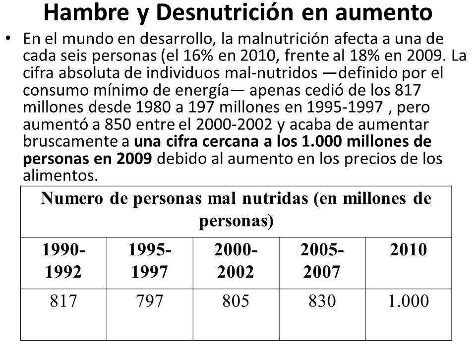 Hambre y Desnutrición en aumento En el mundo en desarrollo, la malnutrición afecta a una de cada seis personas (el 16% en 2010, frente al 18% en 2009.