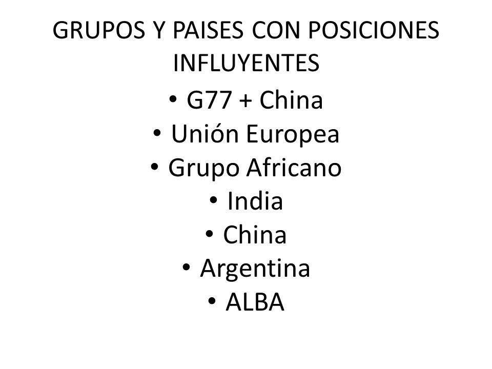 GRUPOS Y PAISES CON POSICIONES INFLUYENTES G77 + China Unión Europea Grupo Africano India China Argentina ALBA