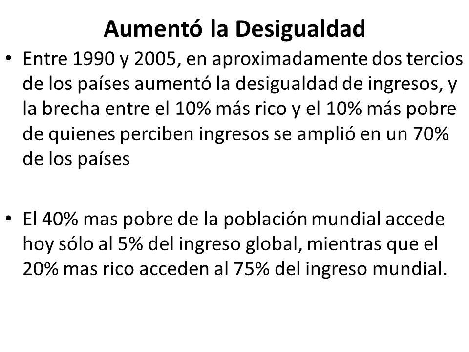 Aumentó la Desigualdad Entre 1990 y 2005, en aproximadamente dos tercios de los países aumentó la desigualdad de ingresos, y la brecha entre el 10% má