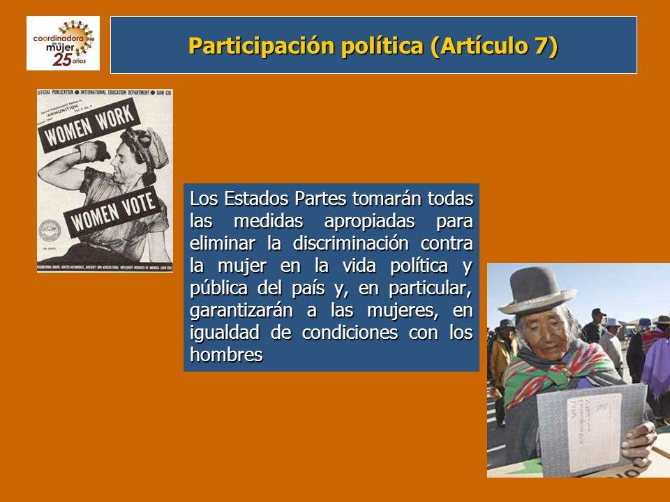 Educación (Artículo 10) Los Estados Partes adoptarán todas las medidas apropiadas para eliminar la discriminación contra la mujer, a fin de asegurarle la igualdad de derechos con el hombre en la esfera de la educación