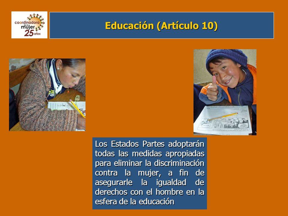 Ámbito Laboral (Artículo 11) Los Estados Partes adoptarán todas las medidas apropiadas para eliminar la discriminación contra la mujer en la esfera del empleo a fin de asegurar a la mujer, en condiciones de igualdad con los hombres, los mismos derechos