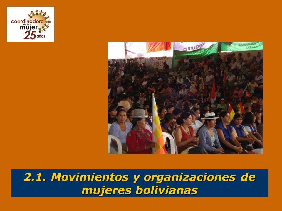 Movimientos feministas precursores de los derechos de las mujeres bolivianas Así como reconocemos a los movimientos feministas como precursores de los derechos reconocidos a las mujeres en el ámbito internacional, en Bolivia también se debe reconocer a los movimientos y organizaciones sociales de mujeres como los precursores de los derechos hoy reconocidos en la nueva CPE.