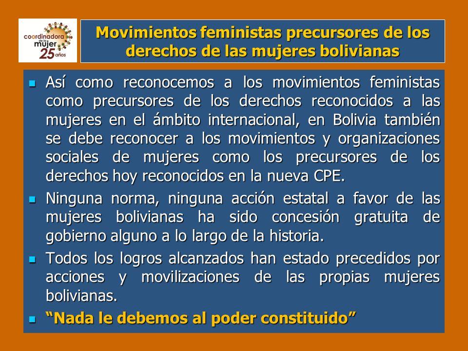 En Bolivia: Dos vertientes y varias corrientes Movimientos y organizaciones de mujeres de clases alta y media Movimientos y organizaciones de mujeres populares