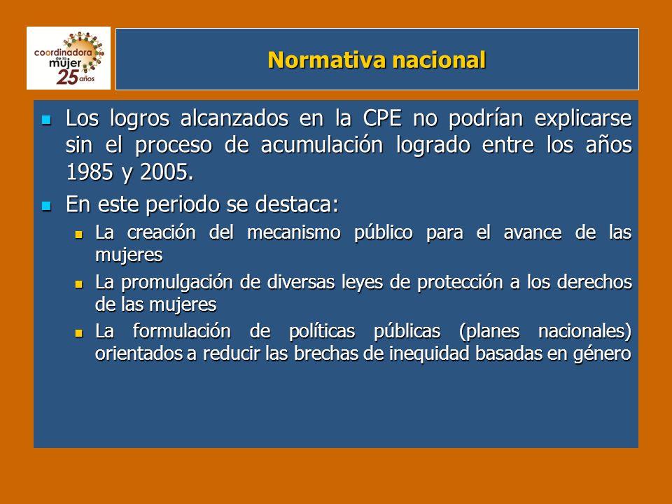 Normativa nacional referida a derechos específicos de las mujeres