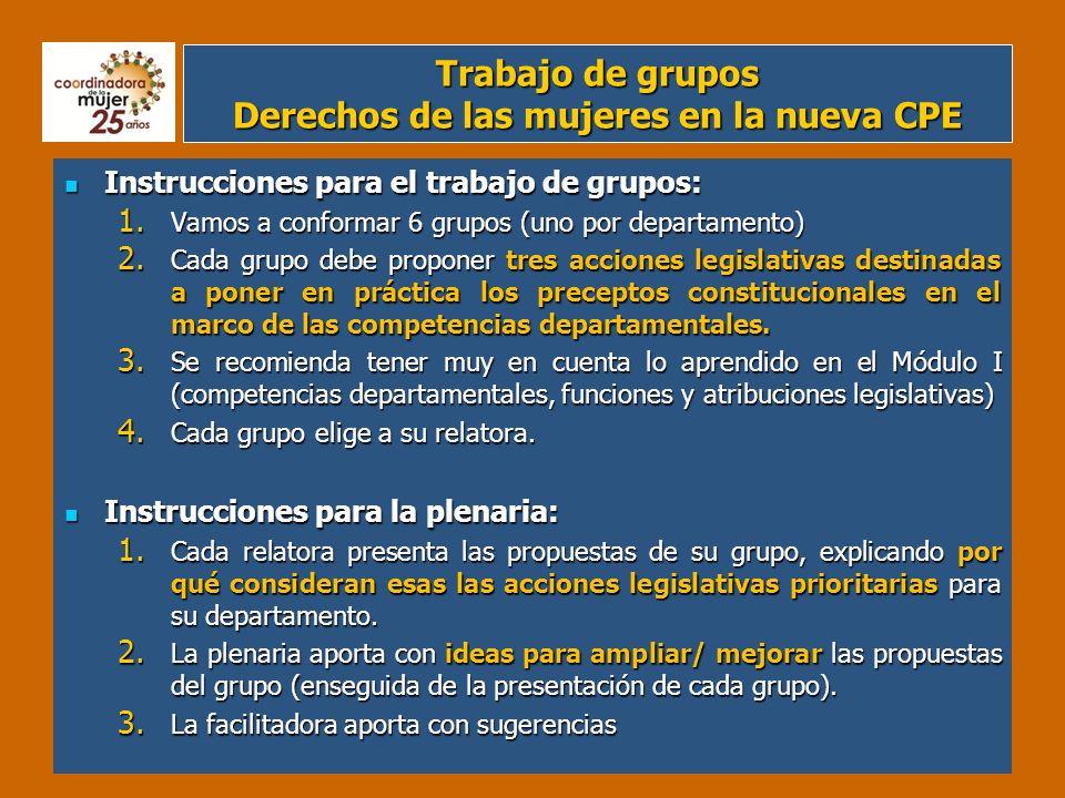 Trabajo de grupos Derechos de las mujeres en la nueva CPE Instrucciones para el trabajo de grupos: Instrucciones para el trabajo de grupos: 1. Vamos a