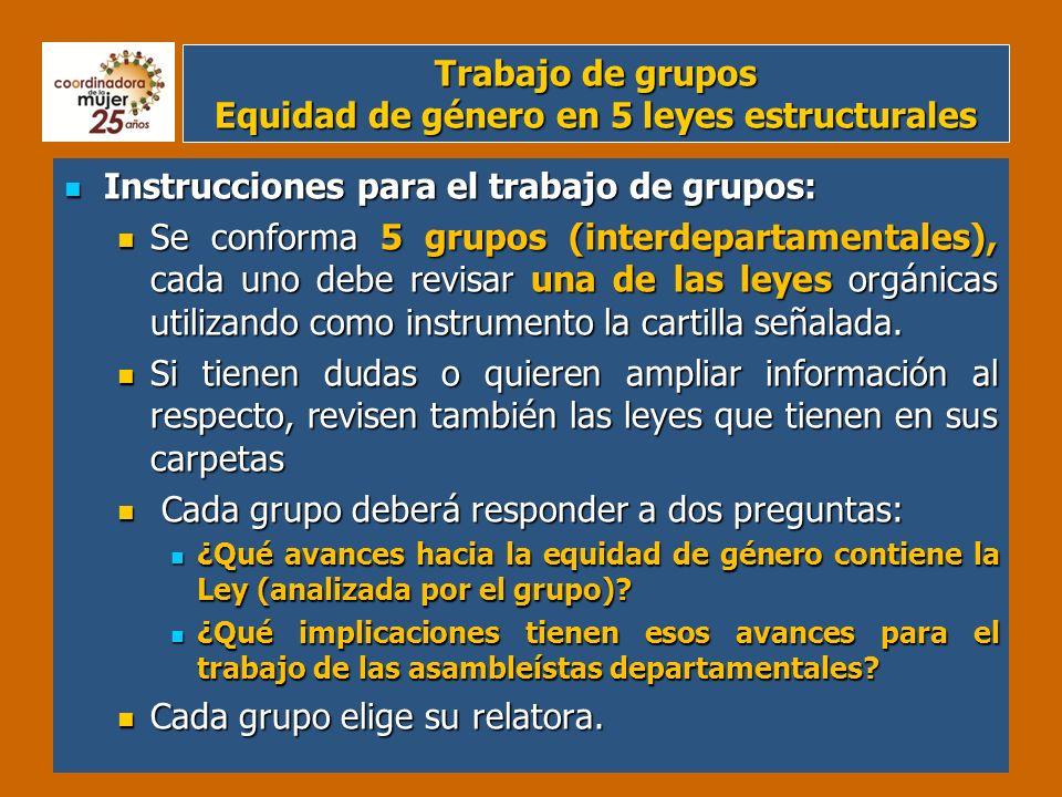Plenaria Equidad de género en 5 leyes estructurales Instrucciones para la plenaria: Instrucciones para la plenaria: 1.