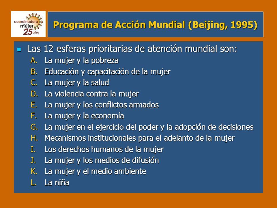 Programa de Acción Mundial (Beijing, 1995) Las 12 esferas prioritarias de atención mundial son: Las 12 esferas prioritarias de atención mundial son: A