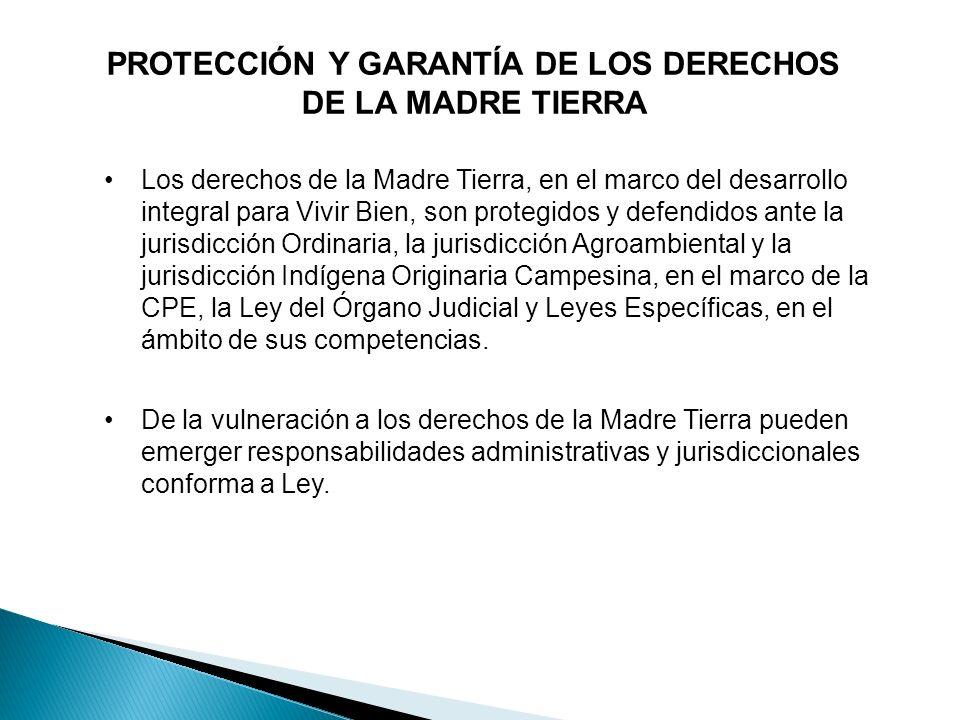 PROTECCIÓN Y GARANTÍA DE LOS DERECHOS DE LA MADRE TIERRA Los derechos de la Madre Tierra, en el marco del desarrollo integral para Vivir Bien, son pro