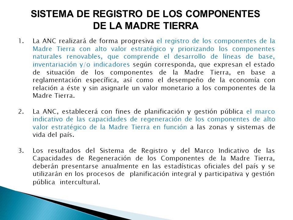 SISTEMA DE REGISTRO DE LOS COMPONENTES DE LA MADRE TIERRA 1.La ANC realizará de forma progresiva el registro de los componentes de la Madre Tierra con