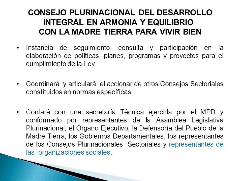 CONSEJO PLURINACIONAL DEL DESARROLLO INTEGRAL EN ARMONIA Y EQUILIBRIO CON LA MADRE TIERRA PARA VIVIR BIEN Instancia de seguimiento, consulta y partici