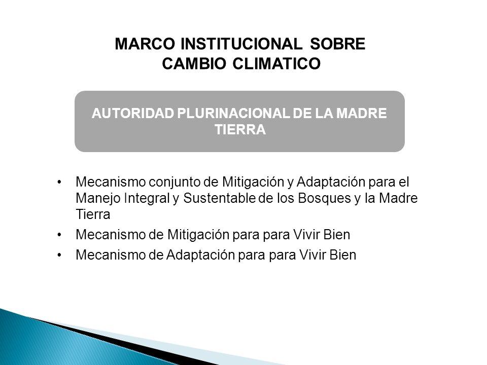 MARCO INSTITUCIONAL SOBRE CAMBIO CLIMATICO AUTORIDAD PLURINACIONAL DE LA MADRE TIERRA Mecanismo conjunto de Mitigación y Adaptación para el Manejo Int
