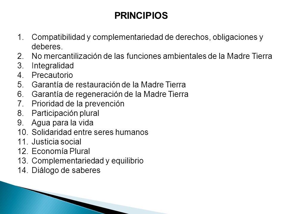 PRINCIPIOS 1.Compatibilidad y complementariedad de derechos, obligaciones y deberes. 2.No mercantilización de las funciones ambientales de la Madre Ti