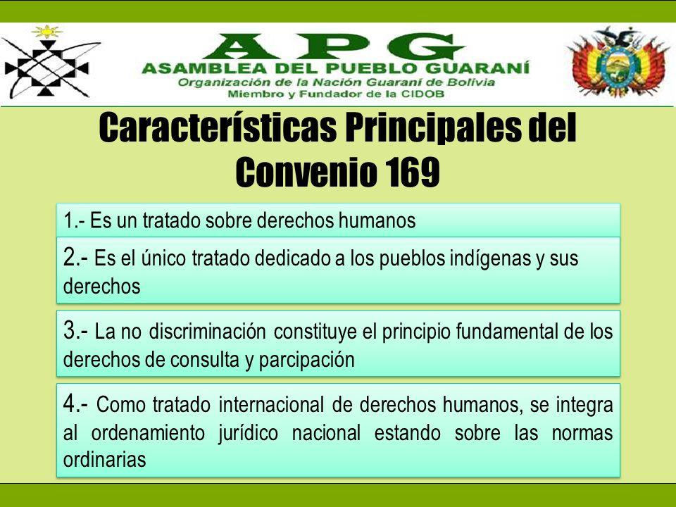 Características Principales del Convenio 169 1.- Es un tratado sobre derechos humanos 2.- Es el único tratado dedicado a los pueblos indígenas y sus d