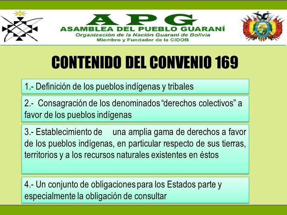 CONTENIDO DEL CONVENIO 169 1.- Definición de los pueblos indígenas y tribales 2.- Consagración de los denominados derechos colectivos a favor de los p