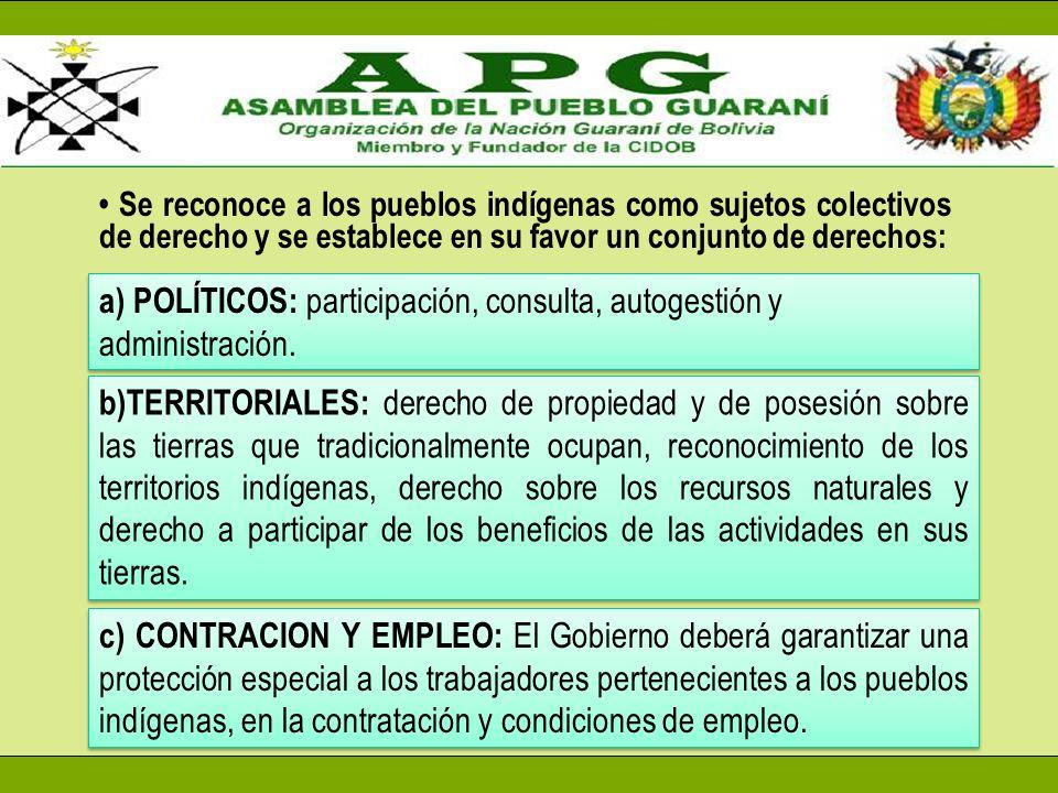 Se reconoce a los pueblos indígenas como sujetos colectivos de derecho y se establece en su favor un conjunto de derechos: a) POLÍTICOS: participación